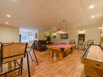 Wildlife Manor Pool Table in Game Room with Pull Out Sofa, Game Table, Ping Pong and Mini-fridge