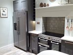 Kitchen with American Fridge Freezer and separate wine cooler