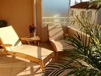 Sun loungers on the terrace, for you and your partner.
