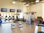 The fitness center is spacious and fully equipped to serve your work-out needs.