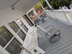 Front porch facing the ocean, and the benches convert to a large picnic table for family BBQ's!!