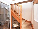 Head upstairs to the open-plan living area