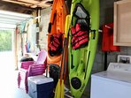 Brand new kayaks, life jackets, pool noodles, beach chairs, rolling ice chest and a Weber kettle grill are all provided...