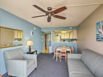 Cool off the living room with the ceiling fan.