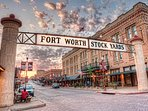 Main entrance to Fort Worth Stockyards 30 minutes away
