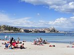 View from the beach back to Antibes