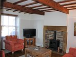 Character sitting room with Ingle Nook gas fireplace