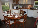 Dine in at the well equipped character kitchen.