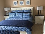 "New King master bedroom bed w ensuite bathroom 45"" HDTV, HBO, cotton comforter new bedroom set"