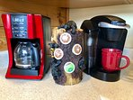 Grab a cup and enjoy the sunrise on the deck. Coffee pot and a Keurig + coffee to get your started.