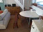 Dual leaf 6 seater dining table - plenty of dining chairs in the property.