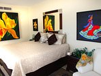Master bedroom with King bed and original art work
