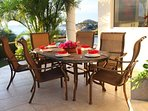 Outdoor dining area with view to Palmilla.