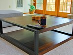 A rustic yet modern coffee table.