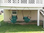Relax on the swings while overlooking canal and having your favorite drink