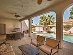 Enjoy dinner with a view on the covered back patio.