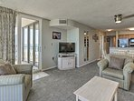 Enjoy a movie night in the spacious living room.