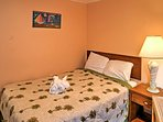 Two rooms have full beds and 3 rooms have queen beds.