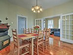 Sit at the dining table to enjoy a family-style meal.
