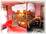 Lovely A.C. Carter Bedroom Featuring Signed C. Lee Cherry Canopy Bed Circa 1858
