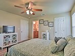 The cherry on top of this great bedroom is the flat-screen DirecTV.