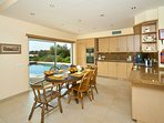 Kitchen with view of pool area