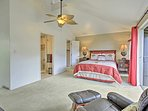 Two guests can sleep at night in the queen-sized bed in the master bedroom.