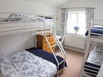 Bedroom 4, family room, double with single bunk over and bunk beds.