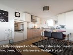 Large, open plan kitchen & dining area, adjoining living room.