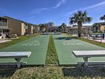 Challenge someone in a game of shuffleboard.
