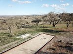 Panoramic bocce ball court.