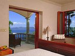 The guest house lower bedroom has a beautiful view