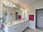 This double vanity provides plenty of counter space.