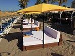 Bali beds at The Beach House Elviria (15 minutes easy walk)