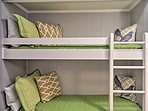 Two more can sleep in the twin-over-twin bunk bed in the front entryway!