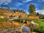 Idyllic Cotswold villages (such as Lower Slaughter, above) are just a short distance away