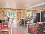 Patio with plenty of seating, extra refrigerator...