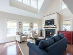 Living Room with TV,  Dormered Cathedral celing and Loft above