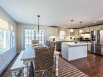 Dining Area, Kitchen with Prep Island and Breakfast Bar with 2 stools, Opens to Deck