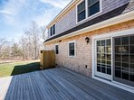 Deck will have 6 Adirondack Chairs with low Table in Center, Enclosed Shower