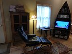 New Leather Recliner And Antique Pie Safe