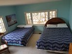 Bedroom 3 - Queen and double beds, multiple, large windows, view to lake