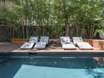 Plenty of room to lounge by the pool - with shady and sunny options!