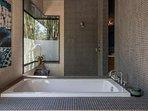 Nice soaker tub with rainshower