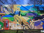 Mural of Haworth in the car park near the museum.