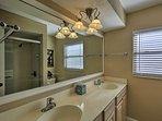 Rinse off in the full bathroom's walk-in shower.