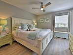 Perfect for couples, the master bedroom boasts a king bed.