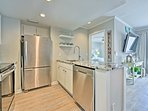 Complete with granite countertops, the kitchen is incredibly elegant.