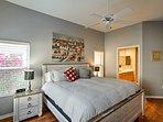 Enjoy the rustic furnishings in each bedroom.