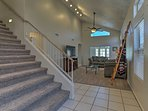 Walk up the stairs to access any of the 3 bedrooms.